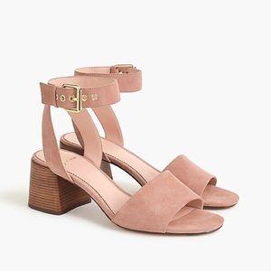 J. Crew Suede Sandals / Block Heel w/ Ankle Strap